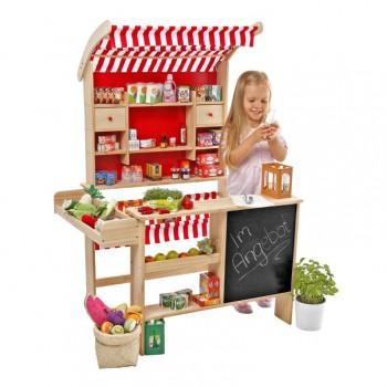 Marktstand, Kaufladen aus Holz