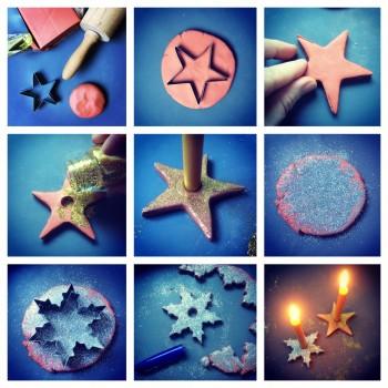 Modellierton Kerzenhalter mit Glimmer