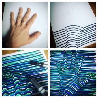 3D-Hand zeichnen, Optische Täuschung