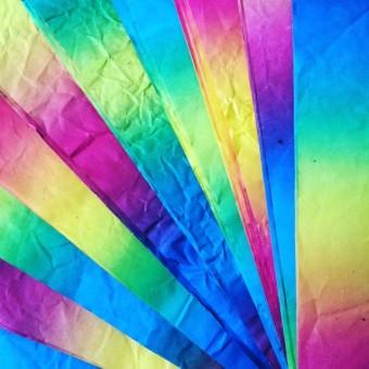 Öko-Regenbogenpapier, Knitterpapier aus Naturfasern